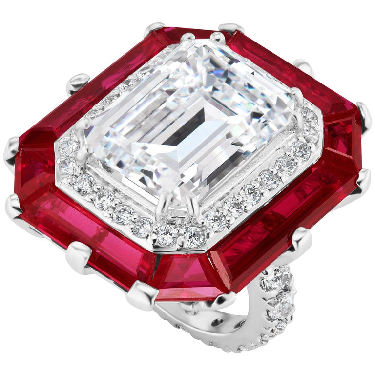 Art Deco Style Halo Synthetic Diamond Ruby Sterling Ring For Sale