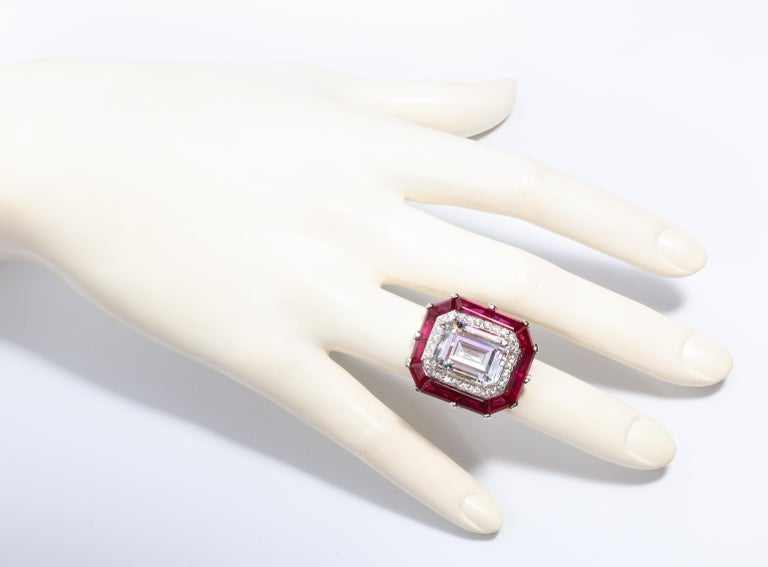 Art Deco Style Halo Synthetic Diamond Ruby Sterling Ring In New Condition For Sale In New York, NY