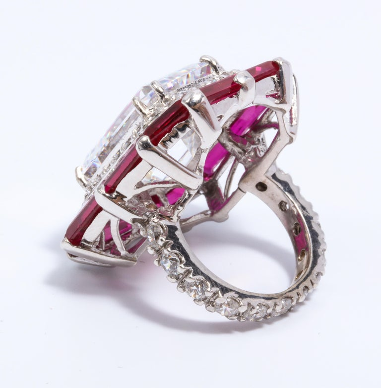 Art Deco Style Halo Synthetic Diamond Ruby Sterling Ring For Sale 1