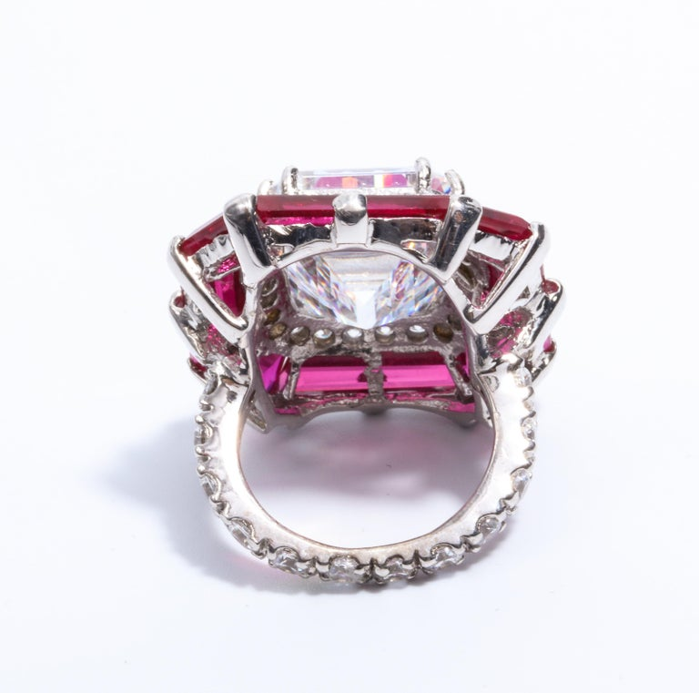 Art Deco Style Halo Synthetic Diamond Ruby Sterling Ring For Sale 2