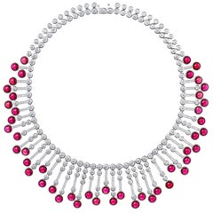 Synthetic Cabochon Burma Ruby Diamond Fringe Sterling Necklace