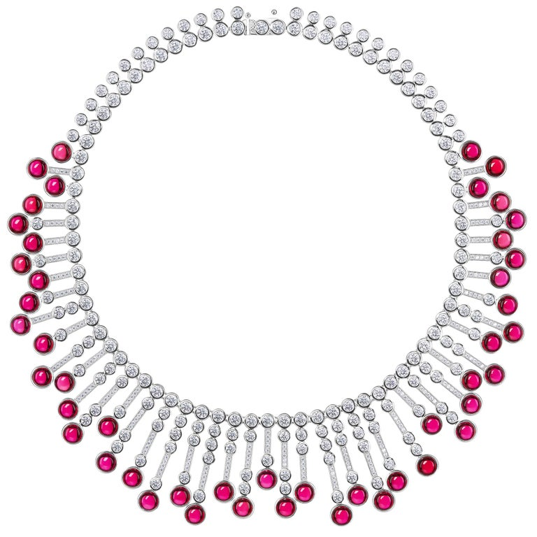 Synthetic Cabochon Burma Ruby Diamond Fringe Sterling Necklace For Sale