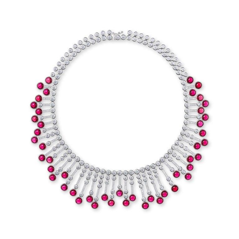 Contemporary Synthetic Cabochon Burma Ruby Diamond Fringe Sterling Necklace For Sale