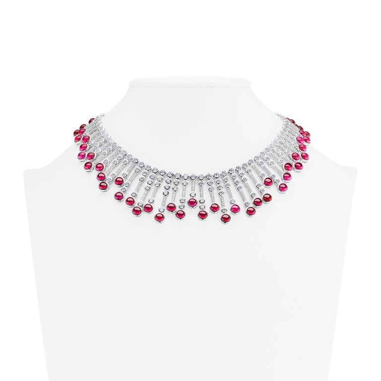 Synthetic Cabochon Burma Ruby Diamond Fringe Sterling Necklace In New Condition For Sale In New York, NY