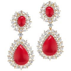 Synthetic Coral Diamond Vermeil Sterling Silver Earrings