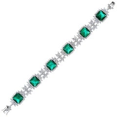 Elegant Faux Colombian Emerald Diamond Sterling Bracelet