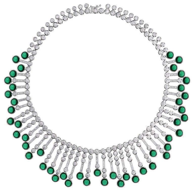Synthetische Cabochon Smaragd Diamant Fransen Sterling Halskette 1