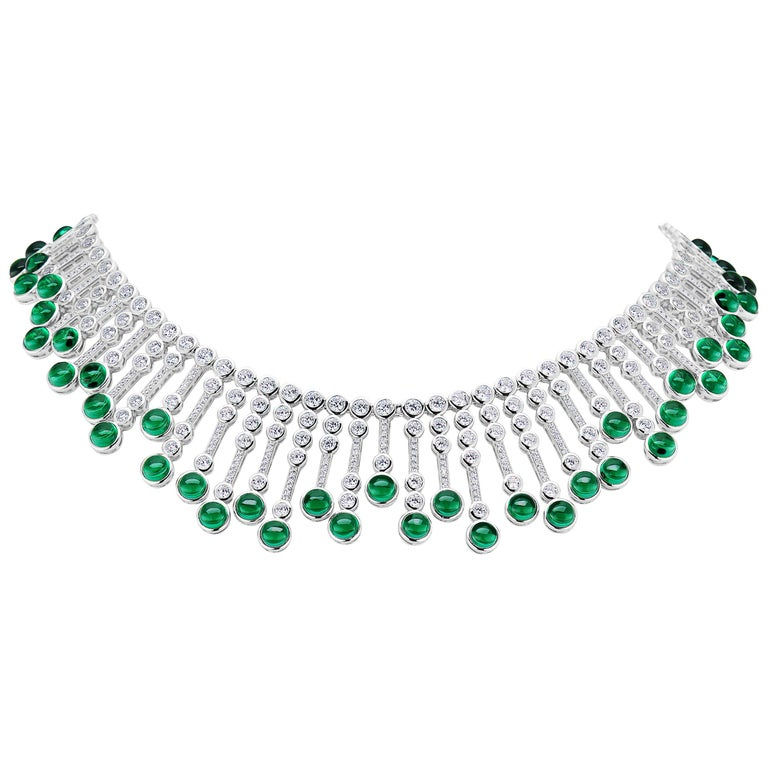 Synthetische Cabochon Smaragd Diamant Fransen Sterling Halskette 2