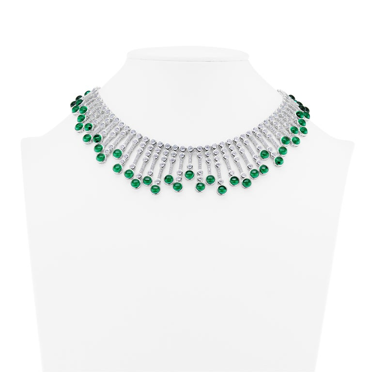 Synthetische Cabochon Smaragd Diamant Fransen Sterling Halskette 3