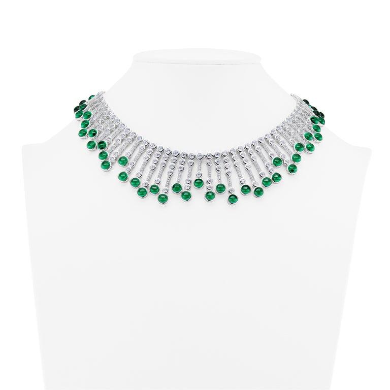 Synthetische Cabochon Smaragd Diamant Fransen Sterling Halskette 4