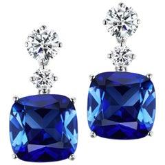 Synthetic Cushion Sapphire Diamond Drop Earrings