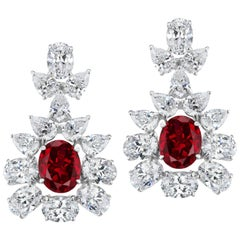 Synthetic Ruby Cubic Zirconia Sterling  Earrings