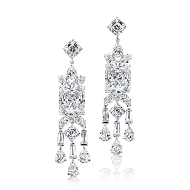 Synthetic Chic Modern Art Deco Style Diamond Fringe Earrings In New Condition For Sale In New York, NY