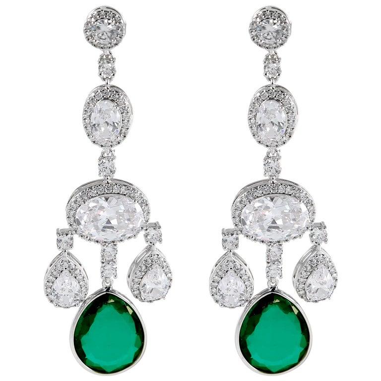 Cubic Zirconia Faux Emerald Girandole Chandelier Earring For Sale