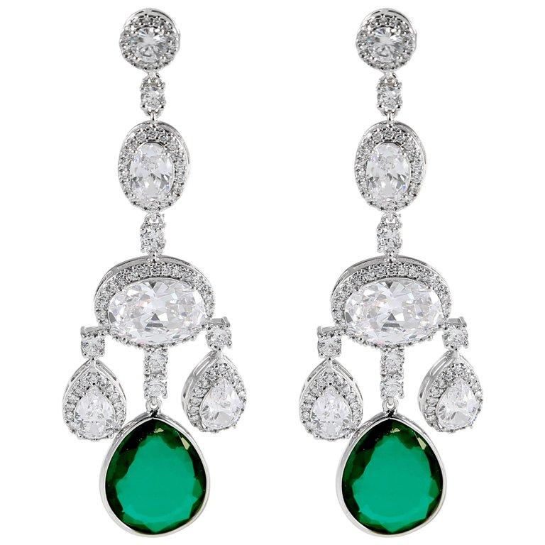 Faux diamond emerald shimmering girandole chandelier earrings made of the finest hand set man-made gems. Totally real looking glamorous faux jewelry, light as a feather, flexible and post fitting measures 3'' long by 1'' wide.