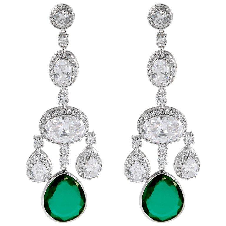 Art Deco Cubic Zirconia Faux Emerald Girandole Chandelier Earring For Sale