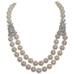 Art Deco Style Synthetic  Pearl Cubic Zirconia Two Row Necklace