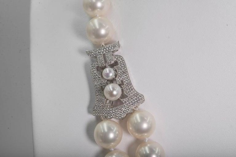 Synthetik zweireihige Perlen Diamant Halskette im Art Deko Stil 3