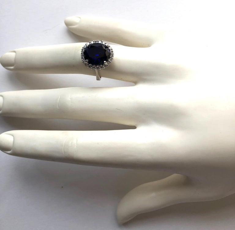Art Deco Mini Princess Diana Synthetic Sapphire Cubic Zirconia Sterling Ring For Sale