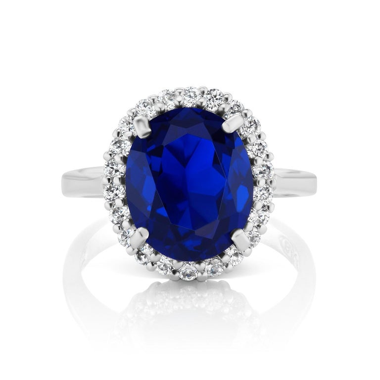 Mini Princess Diana Synthetic Sapphire Cubic Zirconia Sterling Ring In New Condition For Sale In New York, NY