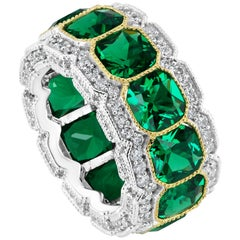 Faux Emerald Cubic Zirconia Half Inch Wide Sterling Band