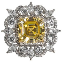 Synthetic 15 Carat  Yellow Emerald Cut CZ Diamond Ring