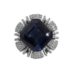 10 Carat Faux Sapphire Cubic Zirconia Sterling Statement Ring