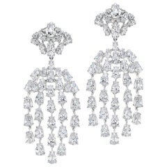 Cubic Zirconia Sterling Silver Waterfall Chandelier Earrings