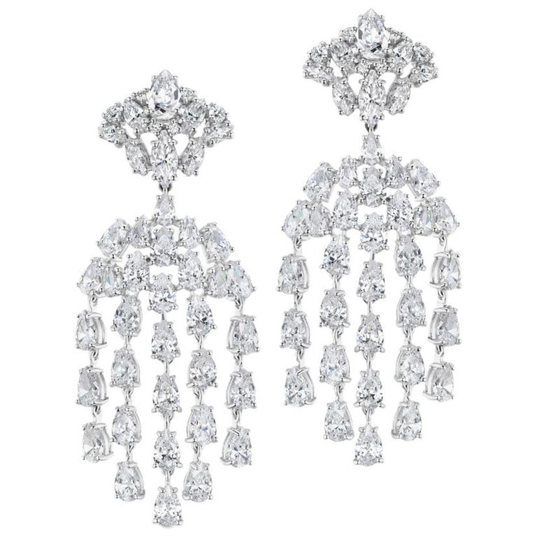 Cubic Zirconia Sterling Silver Waterfall Chandelier Earrings For Sale