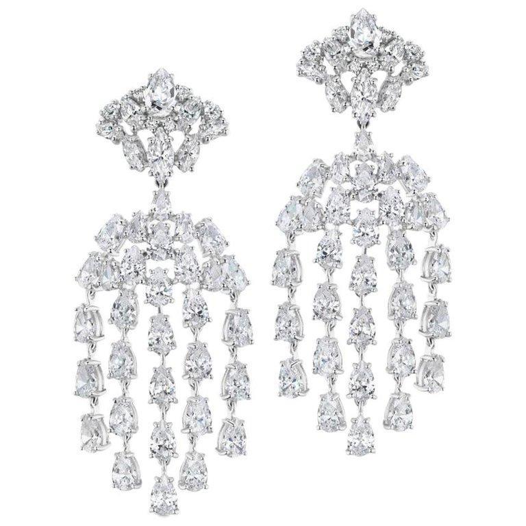 Art Deco Cubic Zirconia Sterling Silver Waterfall Chandelier Earrings For Sale