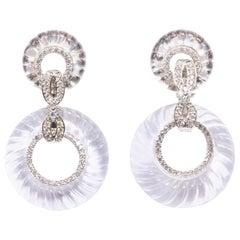 Art Deco Style Cubic Zirconia Rock Crystal Hoop Earrings
