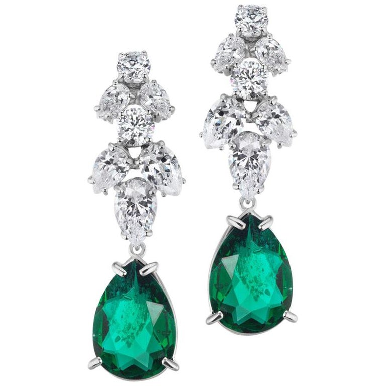 Synthetic Emerald Diamond Delicate Chandelier Earrings For Sale