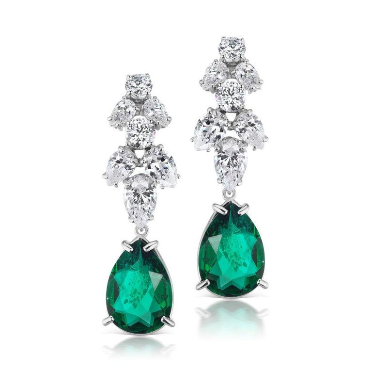 Art Deco Synthetic Emerald Diamond Delicate Chandelier Earrings For Sale