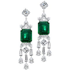 Stunning Synthetic Emerald Cubic Zirconia Sterling Earrings