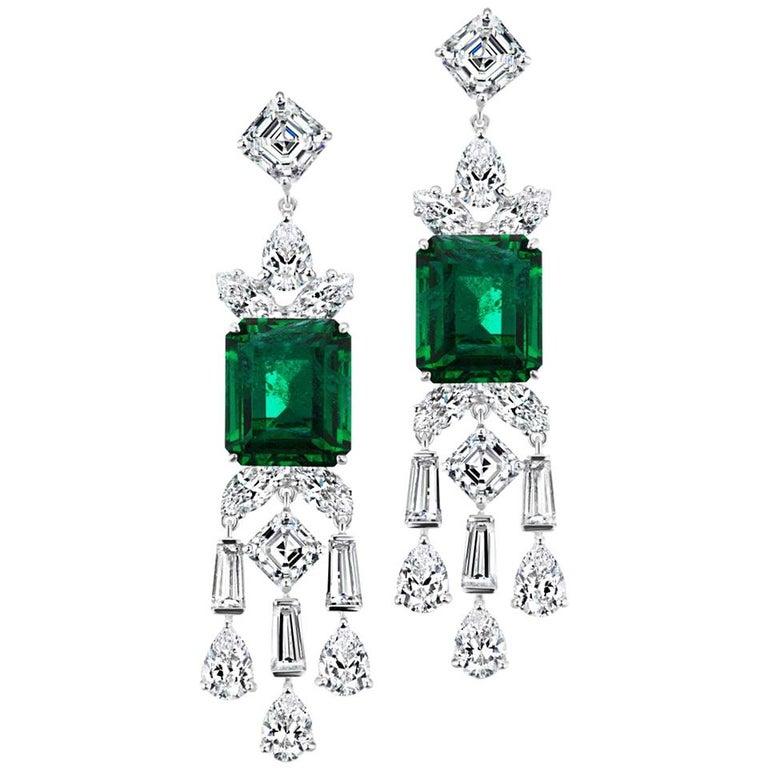 Atemberaubende synthetische Smaragd Diamant Sterling Ohrringe 1