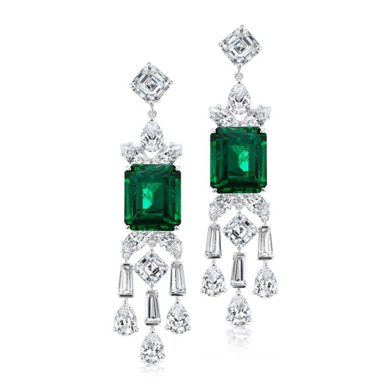 Atemberaubende synthetische Smaragd Diamant Sterling Ohrringe 3
