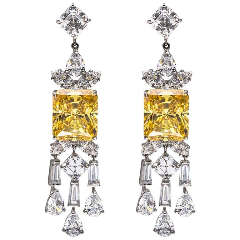 Synthetischer Diamant Kanarische Sterling Ohrringe 1