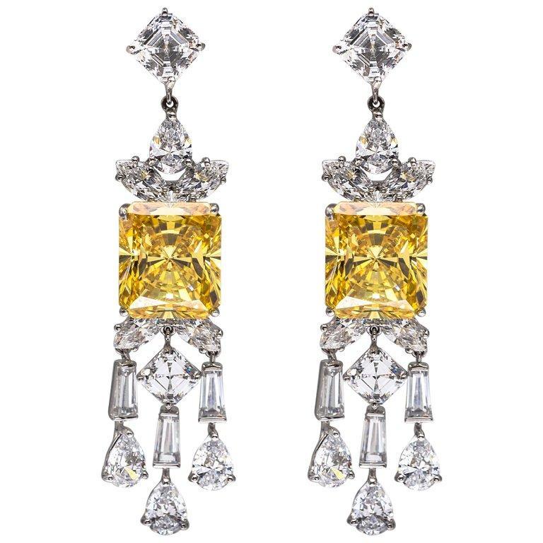 Synthetischer Diamant Kanarische Sterling Ohrringe 3