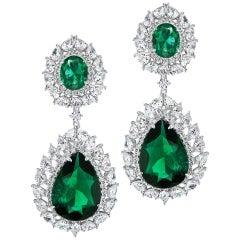 Synthetic Stunning Diamond Emerald Drop Earrings