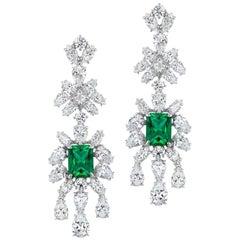 Faux Emerald Cubic Zirconia Delicate Chandelier Sterling Earrings