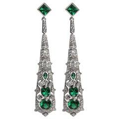 Cubic Zirconia Emerald Art Deco Revival Earrings