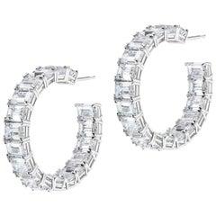 Large Baguette Cubic Zirconia Hoop Sterling Earrings