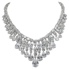 Synthetic Diamond Draperie Fringe Sterling Necklace