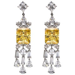 Radiant Cut Canary Cubic Zirconia Baguette Fringe Sterling Earrings