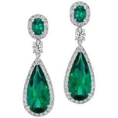 Synthetic Emerald Diamond Sterling Earrings