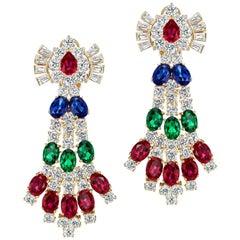 Cubic Zirconia Faux Emerald Ruby Sapphire Vermeil Sterling Earrings