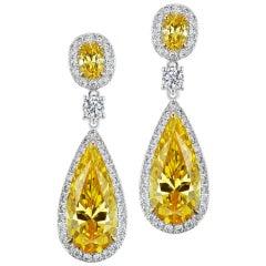 Faux Canary Diamond Sterling Silver Earrings