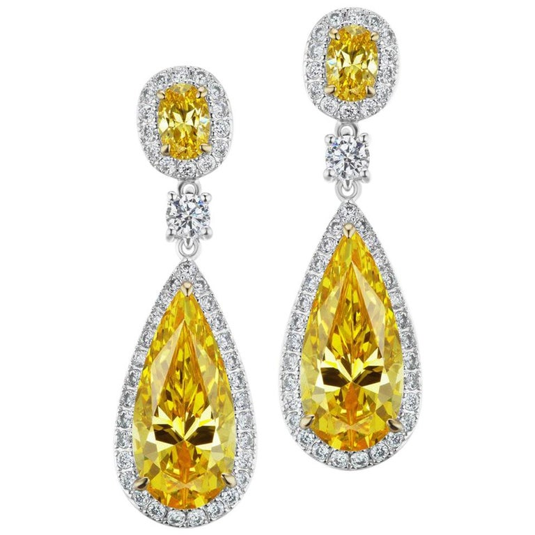 Synthetic Canary Diamond Sterling Silver Earrings For