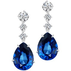 Synthetic Pear Sapphire Diamond Drop Sterling Earrings