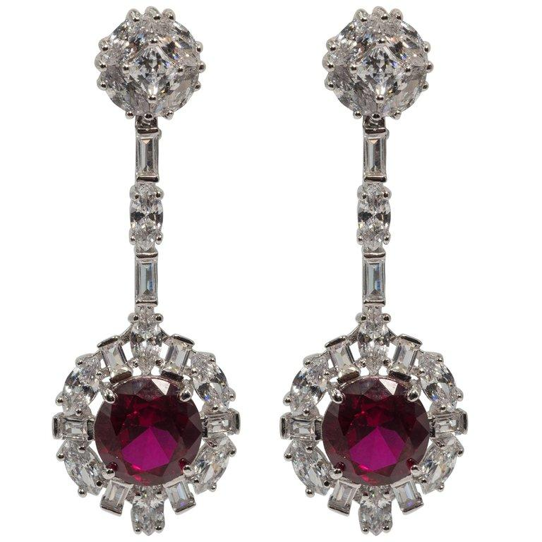 Art Deco Style Diamond Ruby Costume Jewelry Earrings Finest Cubic Zirconia Set In Sterling Exquisite